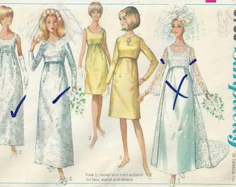 1960's Bust 31 Wedding Dress with Jacket Empire Waist Detachable Train Bridesmaid Evening/Formal 60s WeddingSimplicity 6759 Size 10 UNCUT