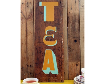 TEA Handpainted Reclaimed Wood Sign: Upcycled Vintage Style Kitchen Gift - Blue & Mustard
