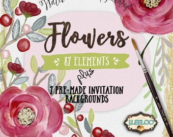 FLOWERS Digital watercolors clipart watercolors png jpg - for scrapbooking invitations labels cards papers instant - hand painted - wa109