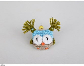 Crochet Owl Keychain, Cool Gift For Teen, Small Children Gift, Tiny Plush Owl, Amigurumi Owl Soft Keyring, Funny Key Accessory for Kids