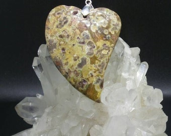 Grass Flower Jasper Heart Pendant.