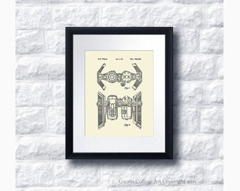 Tie Bomber Star Wars Patent Art Print Star Wars Sci-Fi Movie, Star Wars Home Decor Star Wars Print #12
