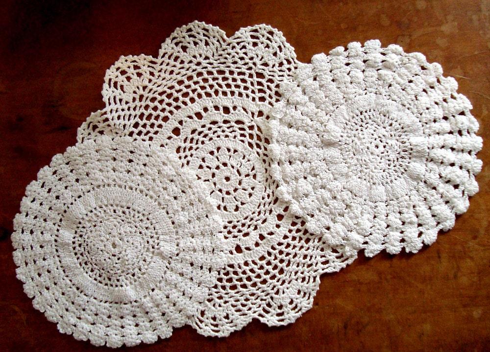 3 Vintage Doilies Handmade Shabby Chic White Crochet Doilies