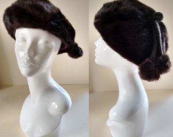 Vintage Very Dark Chocolate Brown 60's Faux Fur Hat Beret with Bobbles Medium made by Jacoll