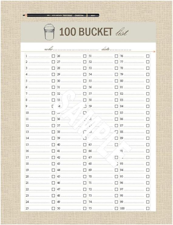 life u0026 39 s lists printable 100 bucket list