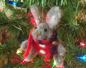 Needle felted rabbit, felted animal,Christmas ornament, felt animal, felt rabbit ornament, Christmas rabbit, wool animal, bunny ornament