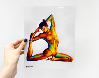 Digital Art Print / Colorful Female Ballet Dancer / 8 x 10 Acrylic / Wall Art Decor