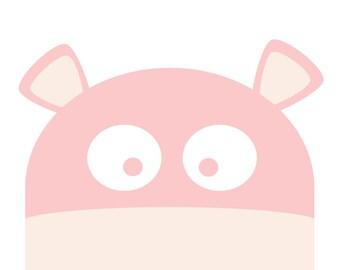 Happy Hippo Nursery Art, Cute Nursery Art, Toddler Room Art