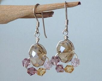 SALE, Sterling Silver Crystal Pierced Earrings, Multicolor Handmade Delicate Silver 925 Retro Dangle Earrings, Retro Jewelry, Girls Jewelry,