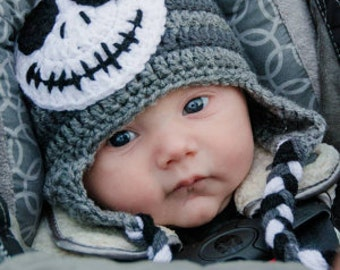 Jack Skellington Inspired Crochet Hat / The Nightmare Before Christmas/ Halloween Hat / Ghost Hat / Photo Prop /  Made to Order
