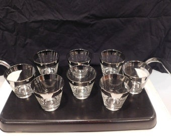 Silver Rimmed Lo Ball Glasses Set of Eight
