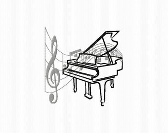 Embroidery pattern of a piano with music in the background format 4 x 4 and 5 x 7 notes