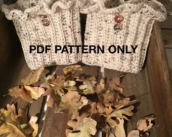 Boot Cuffs w/Ruffled rim - PDF PATTERN ONLY - Crochet - One size fits most (easily adjustable)