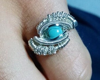 Wire Wrapped Ring: Turquoise. Sterling Silver. ANY SIZE.