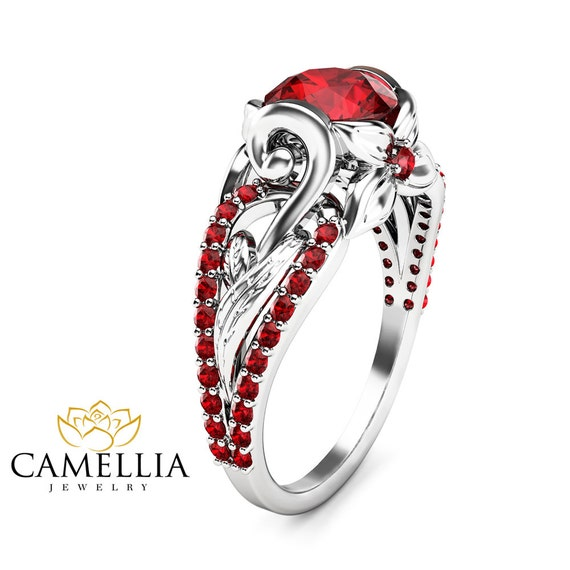 ruby wedding engagement ring unique 14k white gold