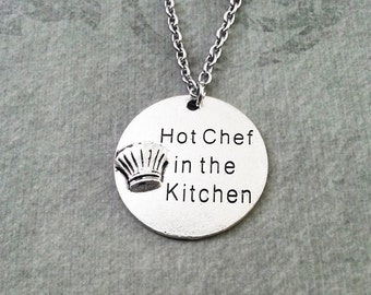 Hot Chef In the Kitchen Necklace Engraved Charm Necklace Pendant Necklace Chef Necklace Cooking Jewelry Cook Necklace Chef Gift Chef Jewelry