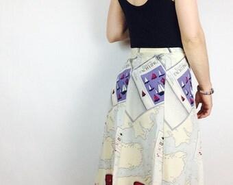 Silk midi skirt vintage silk skirt xs silk skirt extra small skirt high waisted skirt 26 waist skirt size 2 skirt graphic novelty skirt xs
