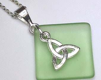 "Trinity necklace with silver Celtic triquetra on cultured green sea glass. Christian gift.  18"" silver chain. Celtic knot."