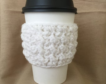 White Handmade Crochet Coffee Cup Cozy