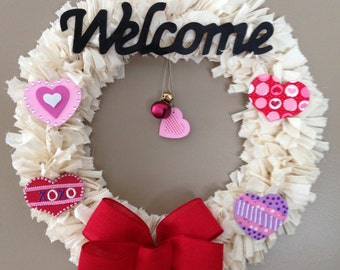 Valentine's Day Rag Wreath with removable/changeable decorations to convert for any holiday/season/occasion