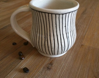 Black and White Striped Handmade Ceramic Mug