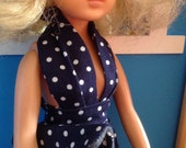 Fabulous summer halterneck dress with matching clutch for Sindy, Barbie, Tressy, Tammy doll