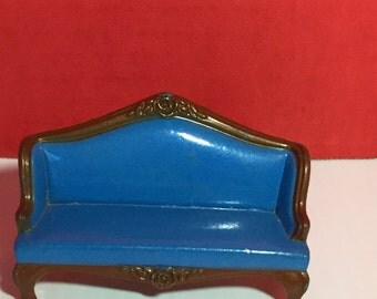 Blue Metal Sofa Dollhouse Miniature