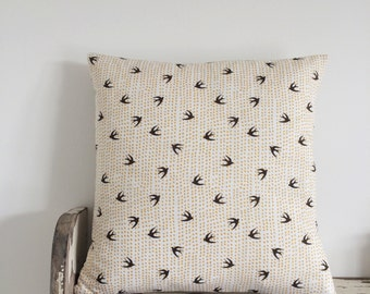 REDUCED! Swallows and dots, handmade cushion, feather insert included.