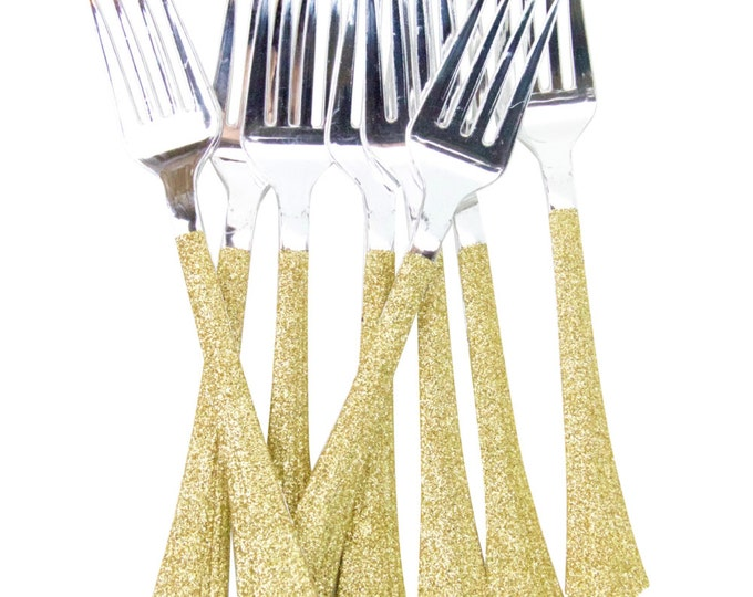 Gold Glitter Plastic Fork, Gold Glitter Silverware Gold Glitter Plastic Utensils Glitter Party Plastic Utensil Disposable Plastic Silverware