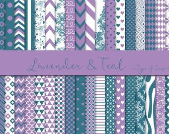 Lavender & dark teal digital paper pack, Purple digital paper, Scrapbook paper, Printable paper, Instant download, Printable pattern