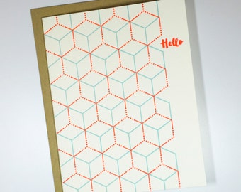 Geometric Pattern - Hello - Letterpress Card