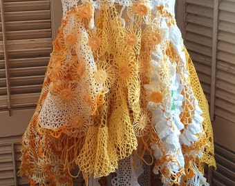 Orangesicle Dream Crochet Tunic Tank Top ~ Vintage Doilies,Upcycled,Cochella,Bohemian,Recycled,BoHo,Repurposed,OOAK,