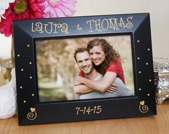 Couples Engraved Black Frame, Couples Custom Engraved Black Frame