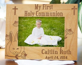 Engraved First Communion Bunny Frame, First Communion Personalized Frame, Custom Communion Frame