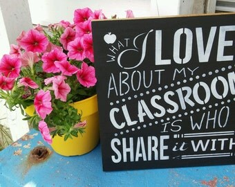 Teacher sign, classroom decor, stenciled wood sign