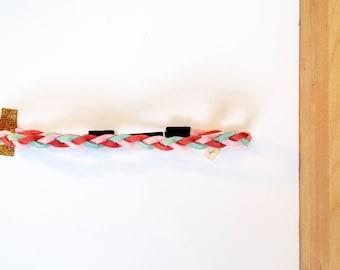 """Headband, """"Ines"""" -  suede braid -  mint, coral, pale pink - pastel"""