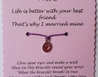 Wife gift, Wife Wish Bracelet, Charm bracelet, Wife anniversary gift, Gift for Wife, Cord Wish Bracelet, Gift for her, Wife birthday gift