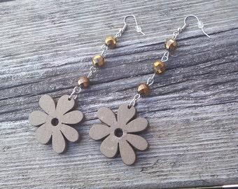 Wood Flower Earrings,Brown flower Earrings,Dangle Earrings,Hippie Earrings,Floral Flower Jewelry, Gypsy Earrings,Teens Fashion