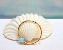 Cartilage Hoop Earring- Light Blue Opal Cartilage Earring-  Small Light Blue Opal Helix Ring- 16-22 Gauge - 6-12mm Inner Diameter