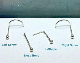 Tiny Nose Stud - Nose screw- Nose Bone- L-Shape -925 Sterling Silver 2-3mm Ball -18-24 Gauge Nose Stud-Right and Left Nostril -  Handcrafted