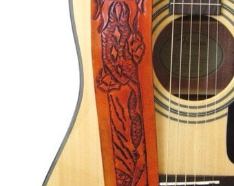 Hand Tooled Leather Dragon Guitar Strap, Unique Guitar Strap