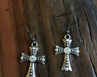 Silver Cross With Rhinestone Earrings // Country Style Cross Earrings // Silver Cross Beach Earrings // Rustic Cross Earrings Pearlsonite