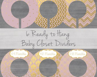 Blush Baby Closet Dividers - Girl Closet Dividers  - Pink Closet Dividers - Gold Foil Closet Dividers- Original Style