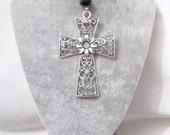 Gothic Cross Choker Necklace - Velvet Choker - Black Choker - Cross Necklace -