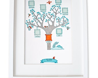 Personalized baby family tree. Custom baby family tree. Blue and orange family tree. Personnalised baby wall art. Custom baby shower gift.