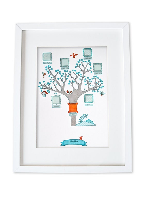 family tree art personalized baby wall art family tree gift. Black Bedroom Furniture Sets. Home Design Ideas