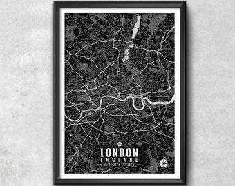 London Map with Coordinates, London Map, Map Print, Map Art, London Print, London Art, London Gift,  London Decor, London Poster, London