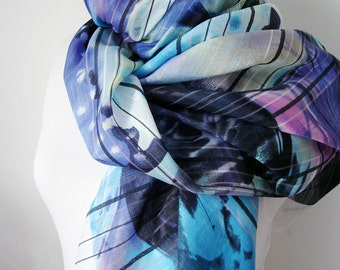 Women scarf for Spring Unique scarf Vortex printed scarf  Pareo for Women Bridesmaid gifts Purple Shawl Unique Mom gifts Womens Accessory