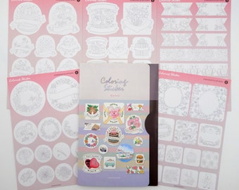 5 page DIY Korean coloring Bird & Flower series sticker set! Planner label adult coloring congratulations stickers - floral botanical border