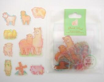 50 Japanese alpaca farm pastel sticker flakes - kawaii fluffy alpacas & goats - sheep - yellow baby chicks - pink pigs - llamas - windmill